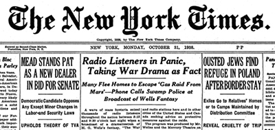 The War Of The Worlds, 1938 radio adaptation, New York Times headline